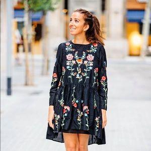 Zara Black Dress Floral Embroidery size L